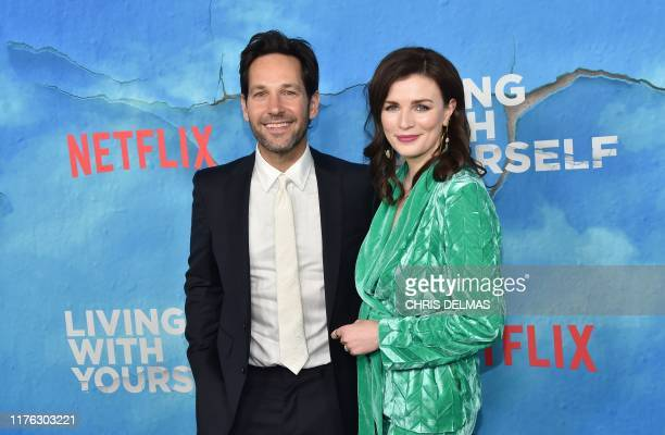 """Actor Paul Rudd and Irish actress Aisling Bea arrive for the season one premiere of Netflix's """"Living With Yourself"""" at the Arclight theatre in..."""