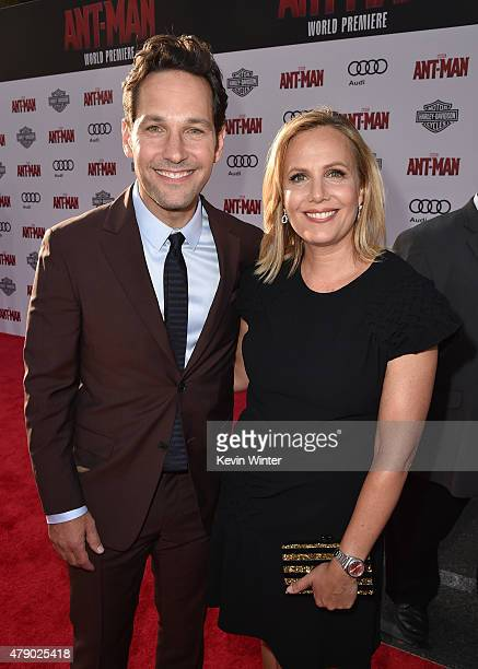 Actor Paul Rudd and Julie Yaeger attend the premiere of Marvel's AntMan at the Dolby Theatre on June 29 2015 in Hollywood California