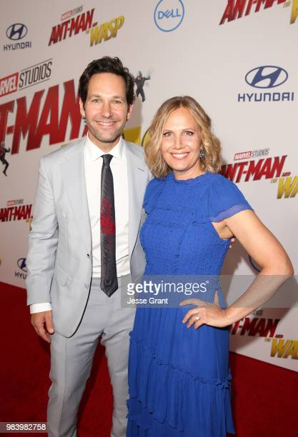 Actor Paul Rudd and producer Julie Yaeger attend the Los Angeles Global Premiere for Marvel Studios' AntMan And The Wasp at the El Capitan Theatre on...