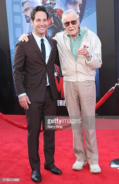 Actor Paul Rudd and Stan Lee attend the premiere of Marvel's 'AntMan' at the Dolby Theatre on June 29 2015 in Hollywood California