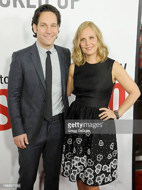 Actor Paul Rudd and wife Julie Yaeger arrive at the Los Angeles premiere of This Is 40 at Grauman's Chinese Theatre on December 12 2012 in Hollywood...