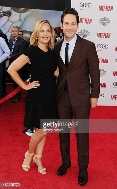 Actor Paul Rudd and wife Julie Yaeger arrive at the Los Angeles premiere of Marvel Studios 'Ant-Man' at Dolby Theatre on June 29, 2015 in Hollywood,...