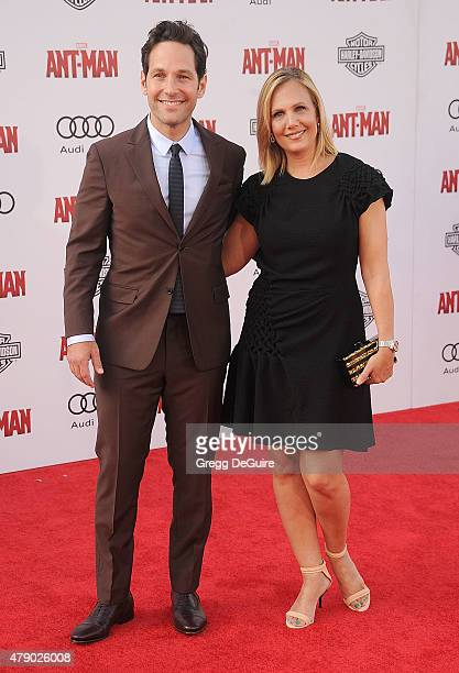 """Actor Paul Rudd and wife Julie Yaeger arrive at the premiere of Marvel Studios """"Ant-Man"""" at Dolby Theatre on June 29, 2015 in Hollywood, California."""