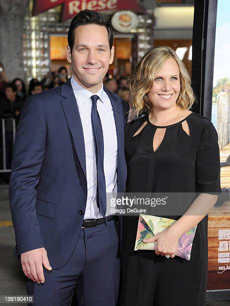 Actor Paul Rudd and wife Julie Yaeger arrive at Wanderlust Los Angeles Premiere at Mann Village Theatre on February 16 2012 in Westwood California