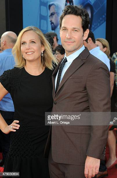 """Actor Paul Rudd and wife Julie Yaeger arrive for the Premiere Of Marvel's """"Ant-Man"""" held at Dolby Theatre on June 29, 2015 in Hollywood, California."""