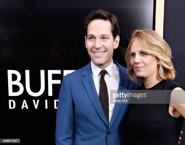Actor Paul Rudd and wife Julie Yaeger attend the Anchorman 2 The Legend Continues Premiere Sponsored by Buffalo David Bitton on December 15 2013 in...