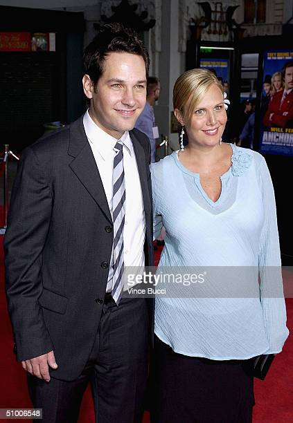 Actor Paul Rudd and wife Julie Yaeger attend the premiere of the Dreamworks film 'Anchorman' on June 28 2004 at the Mann's Chinese Theater in...