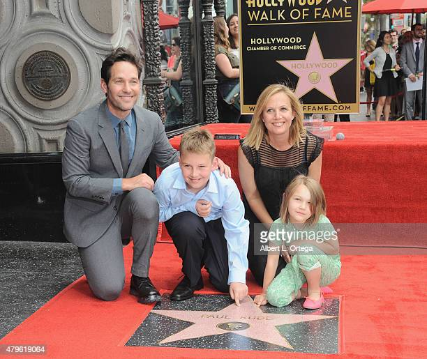 Actor Paul Rudd and wife Julie Yaeger with children Jack and Darby at the Star ceremony for Paul Rudd held on The Hollywood Walk Of Fame on July 1...