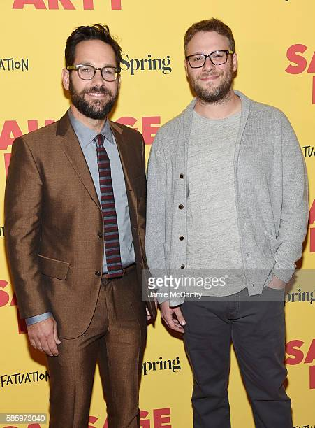 Actor Paul Rudd and writer Seth Rogen attend the premiere of Sausage Party at Sunshine Landmark on August 4 2016 in New York City