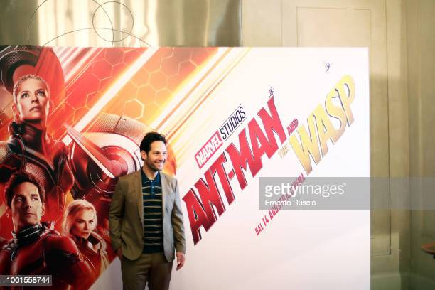 Actor Paul Rudd attends 'AntMan And The Wasp' photocall at Hotel De Russie on July 19 2018 in Rome Italy