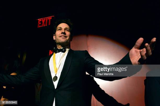 Actor Paul Rudd attends Hasty Pudding Theatricals Honors Paul Rudd as 2018 Man of The Year on February 2 2018 in Cambridge Massachusetts