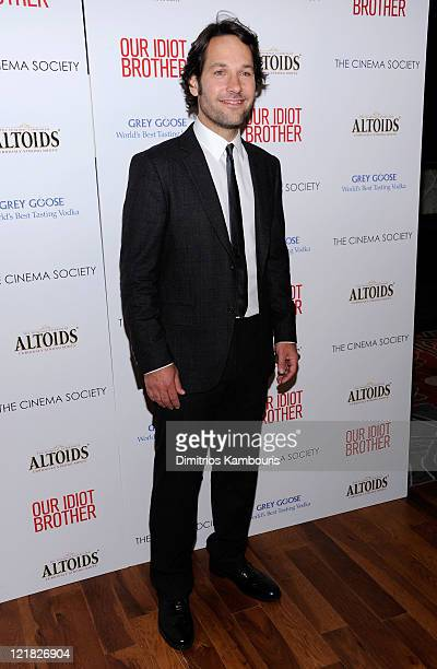 """Actor Paul Rudd attends The Cinema Society & Altoids screening of The Weinstein Company's """"Our Idiot Brother"""" at 1 MiMA Tower on August 22, 2011 in..."""