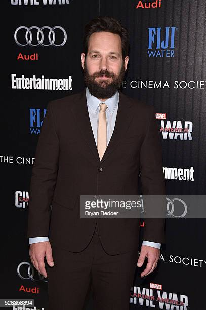 Actor Paul Rudd attends the Cinema Society with Audi and FIJI Water host a screening of Marvel's 'Captain America Civil War' on May 4 2016 in New...