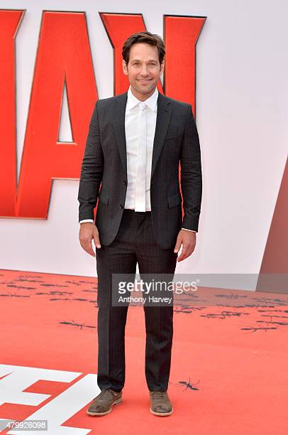 Actor Paul Rudd attends the European Premiere of Marvel's AntMan at the Odeon Leicester Square on July 8 2015 in London England