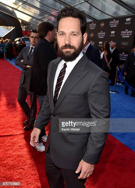 Actor Paul Rudd attends the premiere of Marvel's 'Captain America Civil War' at Dolby Theatre on April 12 2016 in Los Angeles California