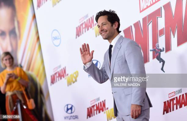 US actor Paul Rudd attends the World Premiere of Marvel Studios' AntMan and The Wasp at the El Capitan Theater on June 25 in Hollywood California