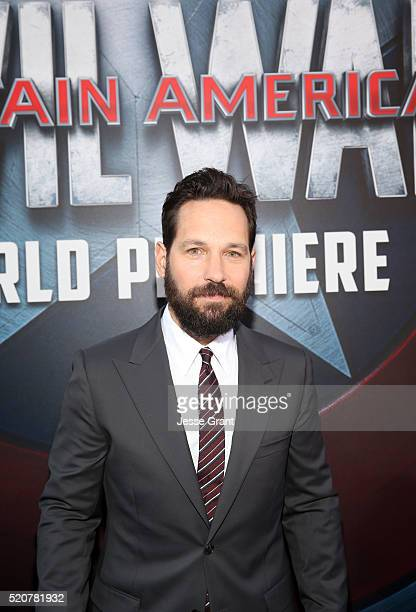 Actor Paul Rudd attends The World Premiere of Marvel's Captain America Civil War at Dolby Theatre on April 12 2016 in Los Angeles California