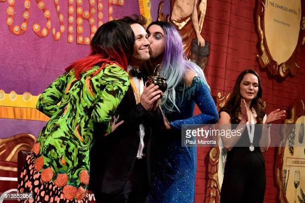 Actor Paul Rudd receives the Pudding Pot from Harvard University students Laural McCaull and Colby Ryan during Hasty Pudding Theatricals Honors Paul...