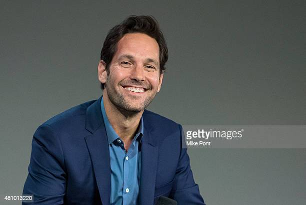 Actor Paul Rudd speaks about his latest movie 'Ant Man' at Apple Store Soho on July 16 2015 in New York City