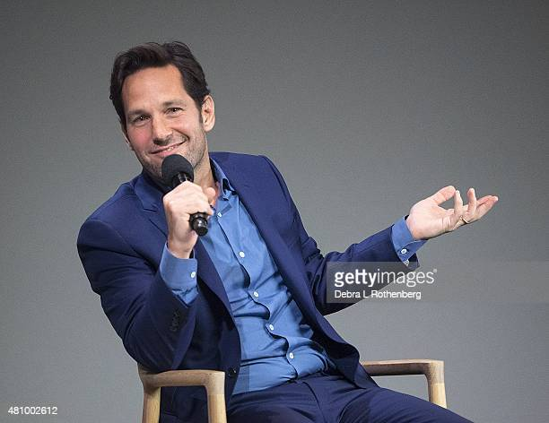 Actor Paul Rudd speaks about his latest movie Ant Man at the Apple Store Soho on July 16 2015 in New York City