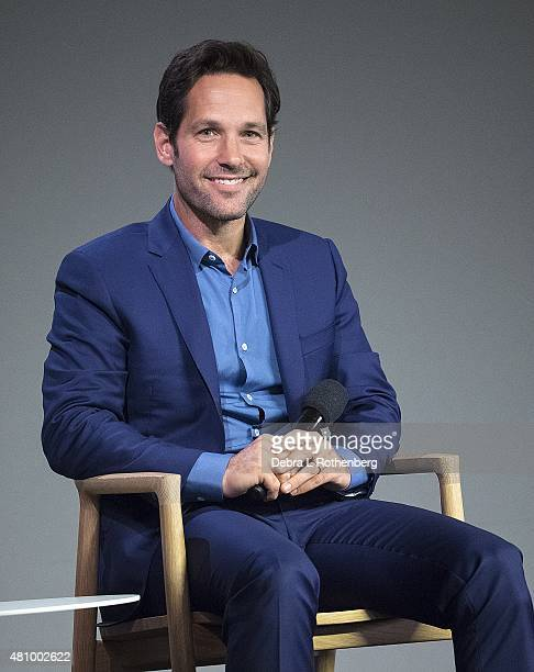 Actor Paul Rudd speaks about his latest movie 'Ant Man' at the Apple Store Soho on July 16 2015 in New York City