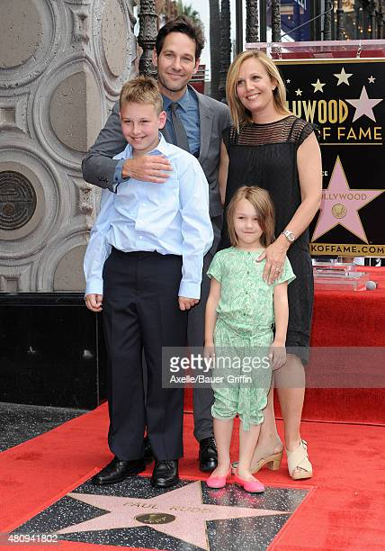 Actor Paul Rudd wife Julie Yaeger son Jack Rudd and daughter Darby Rudd attend the ceremony honoring Paul Rudd with a star on the Hollywood Walk of...