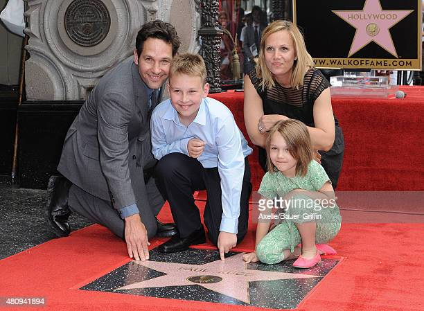 Actor Paul Rudd, wife Julie Yaeger, son Jack Rudd and daughter Darby Rudd attend the ceremony honoring Paul Rudd with a star on the Hollywood Walk of...
