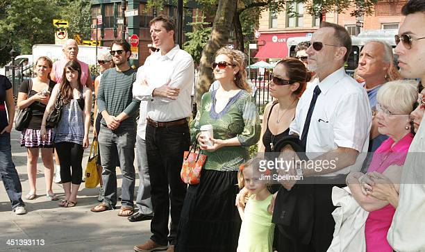 Actor Paul Rudd with family and friends attend the Adrienne Shelly Memorial Garden Dedication Ceremony at Abingdon Square Park on August 3 2009 in...