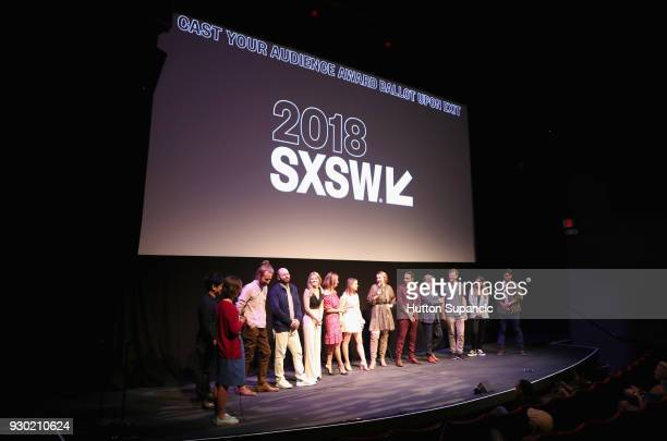 Actor Paul Scheer Kelly Lamor Wilson Andrea Savage Joey King director Becca Gleason and Stephen Ruffin with cast and crew speak onstage at the...