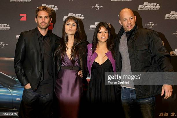 Actor Paul Walker actress Jordana Brewster actress Michelle Rodriguez and actor Vin Diesel attend the Europe premiere of 'The Fast and the Furious 4'...