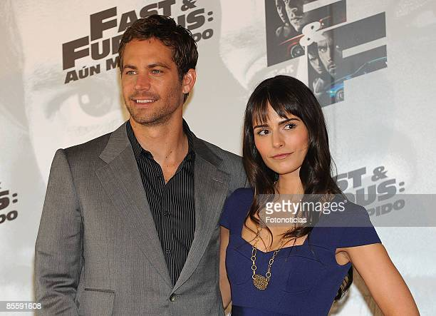 Actor Paul Walker and actress Jordana Brewster attend Fast Furious photocall at Santo Mauro Hotel on March 25 2009 in Madrid Spain