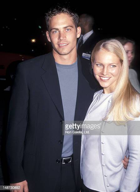 Actor Paul Walker and date Bliss Ellis attend the 'Pleasantville' Westwood Premiere on October 19 1998 at the Mann National Theatre in Westwood...