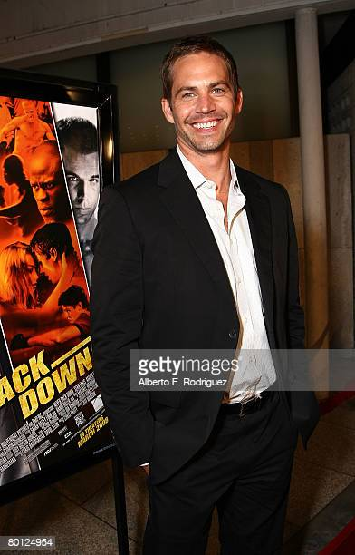 Actor Paul Walker arrives at the premiere of Summit Entertainment's Never Back Down on March 4 2008 in Hollywood California