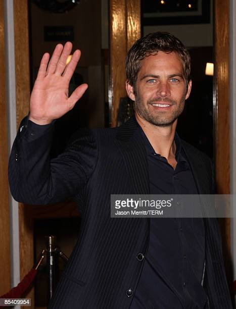 """Actor Paul Walker arrives at the premiere Universal's """"Fast & Furious"""" held at Universal CityWalk Theaters on March 12, 2009 in Universal City,..."""