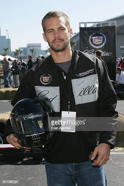 Actor Paul Walker at the 3rd Annual Cadillac Super Bowl Grand Prix at the CSX Parking Lot on February 5 2005 in Jacksonville Florida