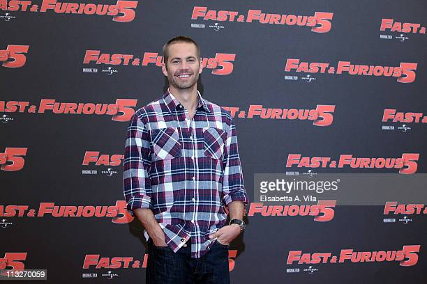 Actor Paul Walker attends Fast Furious 5 photocall at the Hassler Hotel on April 29 2011 in Rome Italy