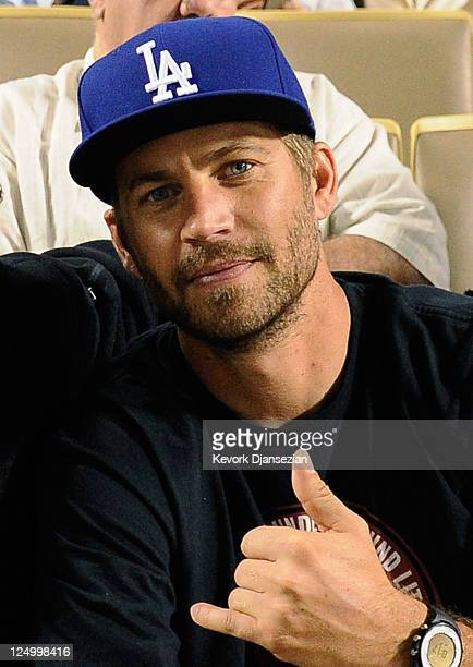 Actor Paul Walker attends the basebeall game between the Arizona Diamondbacks and the Los Angeles Dodgers at Dodger Stadium on September 14, 2011 in...