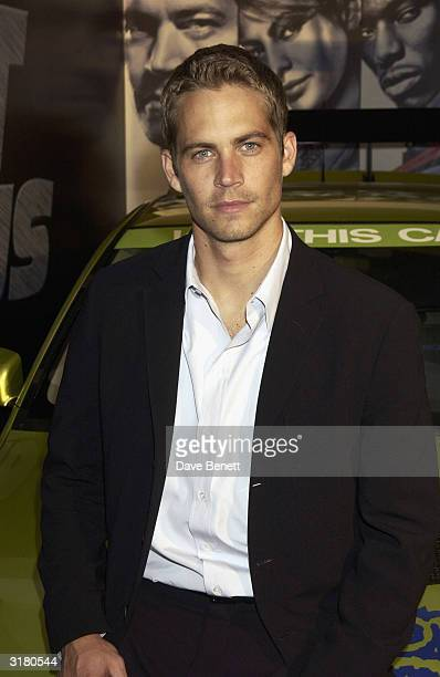 """Actor Paul Walker attends the post premiere party for """"2 Fast 2 Furious"""", at the Poland Street NCP Car Park on October 5th 2003 in London."""