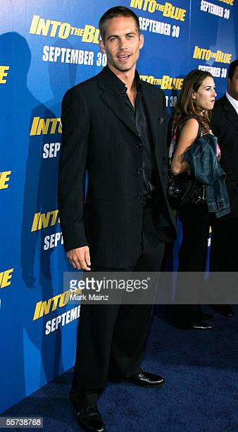 Actor Paul Walker attends the premiere of Sony Pictures 'Into the Blue' at the Mann Village Theatre on September 21 2005 in Westwood California