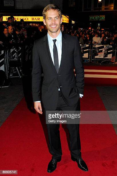 Actor Paul Walker attends the UK premiere of 'Fast and Furious 4' held at the Vue Cinema Leicester Square on March 19 2009 in London England