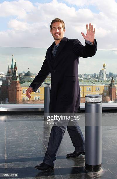 Actor Paul Walker is seen during a photo session before a Russian premiere of 'Fast Furious' on the roof of Ritz hotel on March 23 2009 in Moscow...