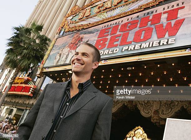 Actor Paul Walker poses at the premiere of Disney's Eight Below at the El Capitan Theater on February 12 2006 in Los Angeles California