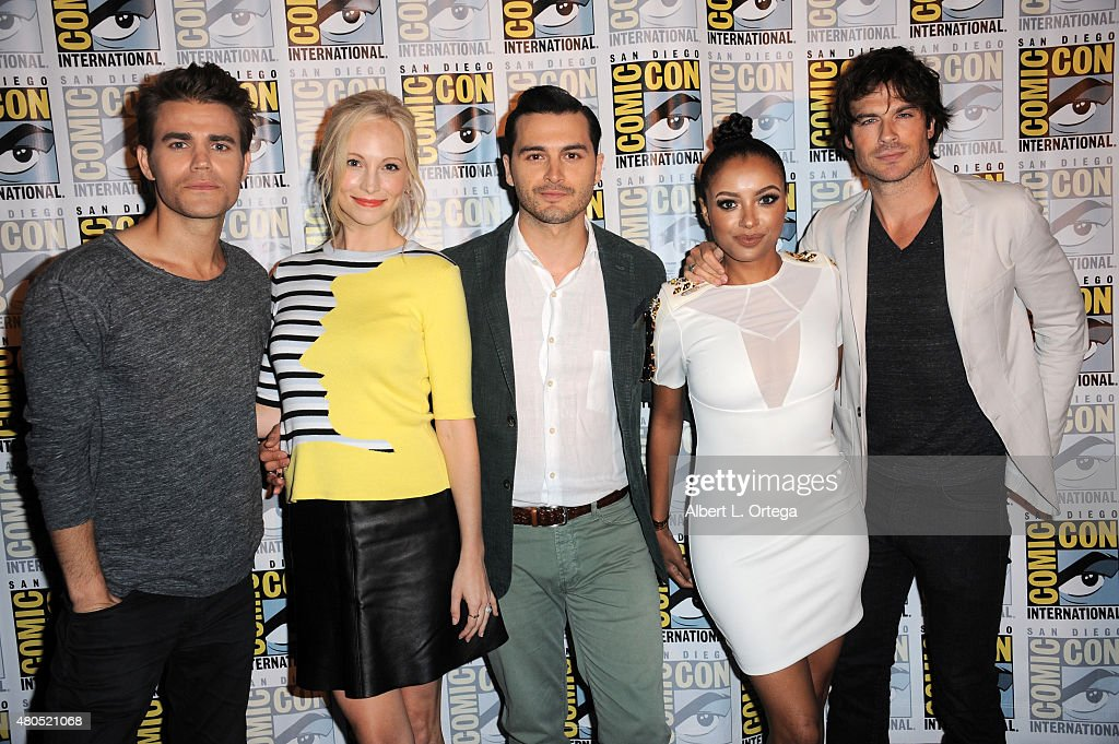 Actor Paul Wesley, actress Candice Accola, actor Michael Malarkey, actress Kat Graham and actor Ian Somerhalder attend the 'The Vampire Diaries' panel during Comic-Con International 2015 at the San Diego Convention Center on July 12, 2015 in San Diego, California.
