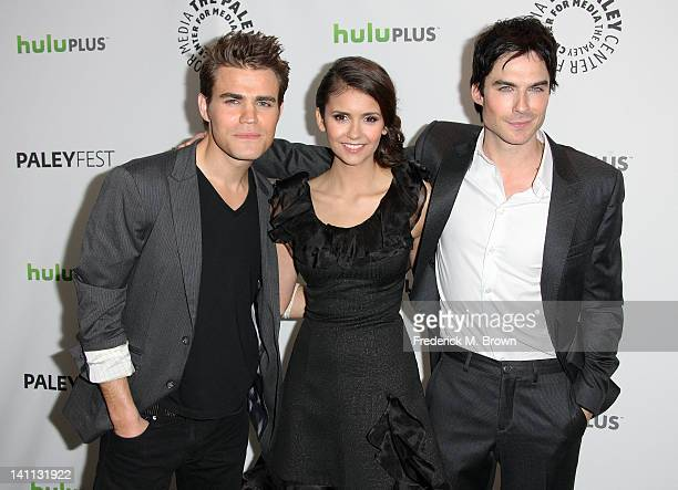 "Actor Paul Wesley, actress Nina Dobrev and actor Ian Somerhalder attend The Paley Center For Media's PaleyFest 2012 Honoring ""The Vampire Diaries"" at..."