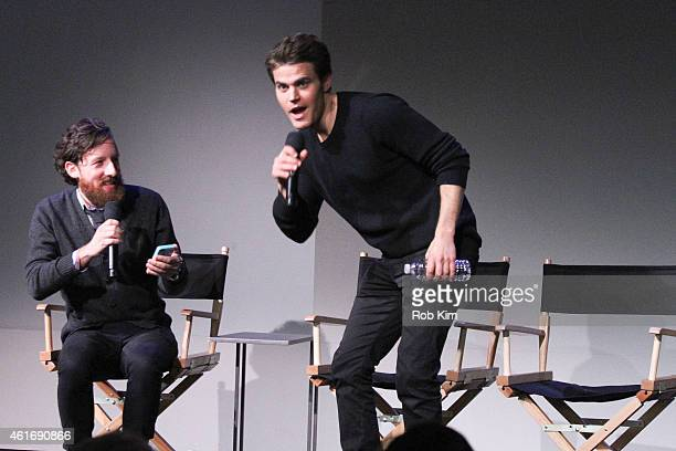 Actor Paul Wesley and moderator film critic Drew Taylor attend Apple Store Soho Presents Meet The Filmmakers Paul Wesley Dina Shihabi And Sean Mullin...