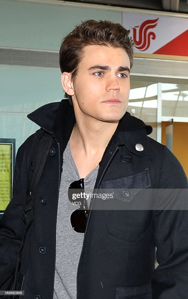 Actor Paul Wesley arrives at Beijing Capital International Airport on March 13, 2013 in Beijing, China.