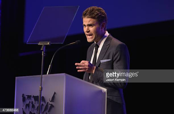 Actor Paul Wesley speaks onstage during The Humane Society Of The United States' Los Angeles Benefit Gala at the Beverly Wilshire Hotel on May 16...