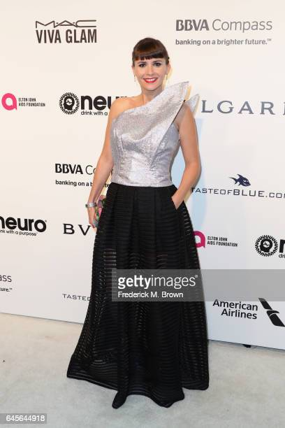 Actor Paula Roman attends the 25th Annual Elton John AIDS Foundation's Academy Awards Viewing Party at The City of West Hollywood Park on February 26...