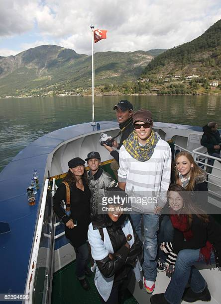 Actor Paula Trickey music recording artist Aaron Carter actors Denyce Lawton Kyle Lowder Joshua Henderson Joy Lauren and Andrea Bowen attend a trip...