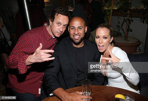 """Actor Pauly Shore, former professional football player Hank Baskett and TV personality Kendra Wilkinson attend WE tv's premiere of """"Kendra On Top""""..."""